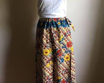 70s Tribal Batik Cotton Long Skirt •  Vintage Skirt •  Bohemian Skirt •  Floral Maxi Skirt •  Hippie