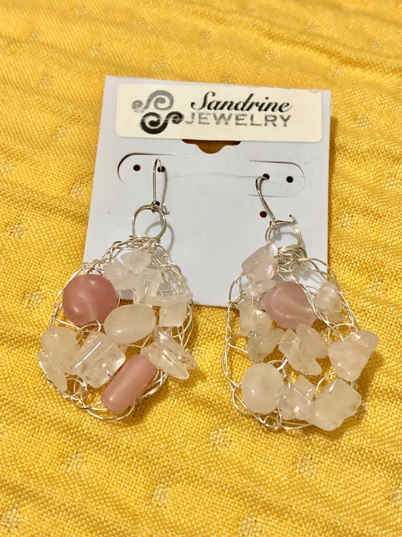 SJC10305 - Handmade sterling silver wire crochet earrings with pink quartz gemstone and glass beads