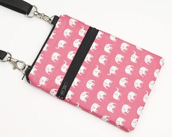 Cute Travel Purse, iPhone 8 Plus Purse, Samsung S8 Bag, Small Animal Cross Body Bag, Passport Pouch - white elephants marching in light pink