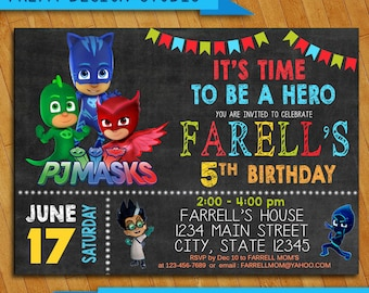 PJ Masks Invitation-PJ Masks Birthday Party- PJ Masks Birthday Invitation- Invitation Personalized-Birthday Pj Mask