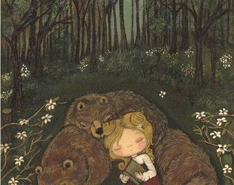 Goldilocks Print Nursery Art Bear Print Fairy Tale Forest Girl Children Wall Art---Three Bears