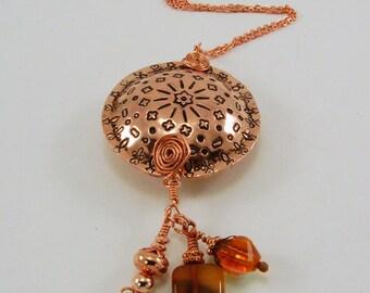 Hand Stamped Copper Mandala Big Bead Pendant Necklace