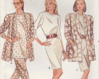 Loose Fitting Dress Pattern Jacket Pants Misses Size 6 - 8 - 10 uncut Butterick 6605