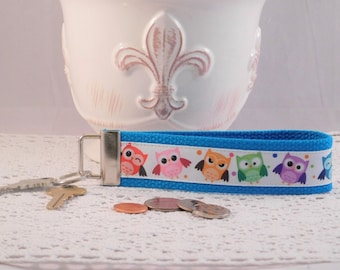 Keychain Wristlet Made With Bright Colored Owl Inspired Ribbon
