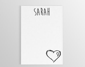 Personalized Heart Notepad ~ Custom Notepad ~ Custom Stationary ~ Heart Stationary ~ Custom Gif ~ Personalized Gift