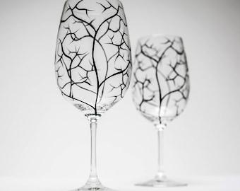 Bare Branches, Black Tree Branch Wine Glasses - Set of 2 Hand Painted Wine Glasses, Bare Branches, painted wine glass, painted wine glasses