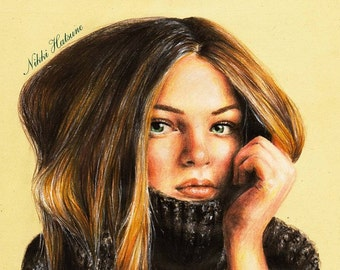 Custom realistic color pencil portrait drawing