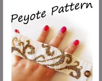 Tattoo Swirls Peyote Pattern Bracelet - For Personal Use Only PDF Tutorial , peyote stich bracelet tutorial , waves bracelet