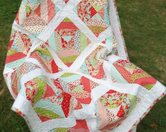 """Girl's Modern Block Patchwork Lap Quilt; Throw sized quilt made from """"Little Ruby"""" fabric line."""