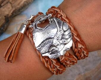 Jewelry Gifts for Women, Handmade Bracelet Gifts for Women, Woven Leather Bracelet Gifts For Her, Leather Wrap Bracelet, Luxury Luxe Gift