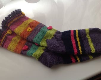 ladies handknitted socks rainbow stripes UK 5-6  colours with little spring flowers and pretty ribbed cuff