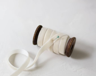 """Ivory Velvet Ribbon (with Wooden Spool) - 5 yards - 3/8"""" wide"""