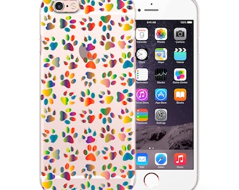 Colorful Animal Footprints Phone Case Cover For iPhone 5/5s/se/c/6/6s/6+/7/7+/8/8+/X Samsung 6/7/8/8+/9/9+/J3/J5/J7/A3/A5/A7(2016)(2017)
