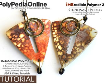 Polymer Clay Tutorial, PDF Tutorial, Polymer Clay Pattern, Polymer Clay Jewelry, DIY Handmade Bead, Jewelry Tutorial, Alcohol Ink, Video