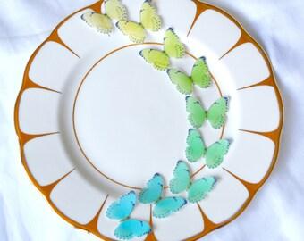Edible 'Sea Beach' Butterflies Ombre Wafer Rice Paper Yellow Lime Turquoise Cyan 3D Butterfly Summer Wedding Cake Topper Ocean Cupcake Decor
