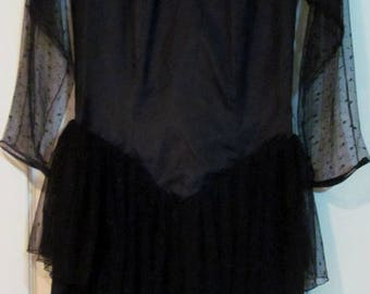 Vintage Black dress, Vintage Clothing Black dress with sheer detail, ruffles, from 1980's, black evening dress, party dress, old fashioned