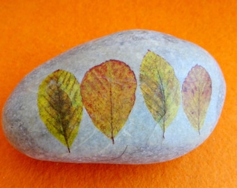 AUTUMN leaf PAPERWEIGHT, decorated stone decoupage