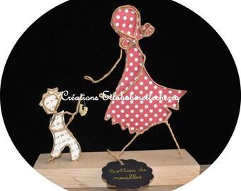 Noodle necklace: gift idea for a mother, string sculptures, string and paper, figurines in string, Etlabobinettecherra,