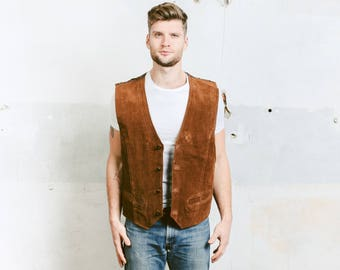 Brown Suede Vest . Indiana Jones Brown Leather Vest Vintage 80s Mens Sleeveless Jacket Cowboy Western Brown Biker Vest . size Extra Large XL