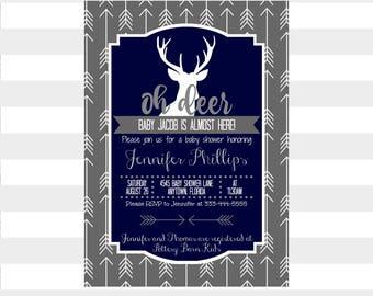 Oh Deer Baby Shower Invitation ~ Navy ~ Custom Rustic Invite ~ Tribal Arrows ~ Baby Boy