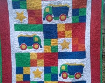 boy nursery bedding, boy crib bedding, truck blanket, quilt, boy baby shower, truck bedding, boy baby quilt, boy quilt, boy baby blanket