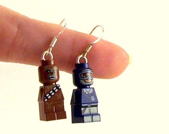 Chewbacca® & Han Solo® Star Wars® Inspired Earrings *Last Pair* Sterling Silver .925 Stamped Backs - Fan Art Crafted From LEGO® Elements