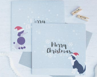 Pack of 6 or 12 Poodle and Sheep Dog Christmas Cards with Silver Foil