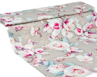 Beige floral crepe silk, fabric silk, buy yard, fabric for dress, fabric for tunic, summer crepe silk fabric-1 / yard
