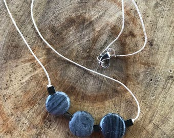 Handmade Simple Hemp Cord Necklace Hematite Marble Stone Necklace