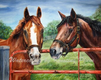 Horse picture giclee print of two horses standing at the gate waiting to see you. Signed and numbered limited edition by Kristine Plum