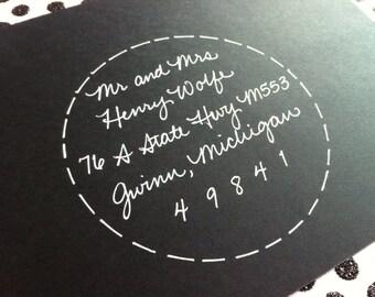 WEDDING CALLIGRAPHY encircled JUDITH : Custom Wedding Calligraphy Envelope Addressing
