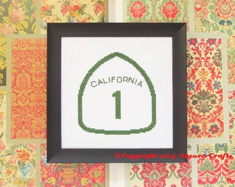 California Highway Road Sign Cross Stitch Kit