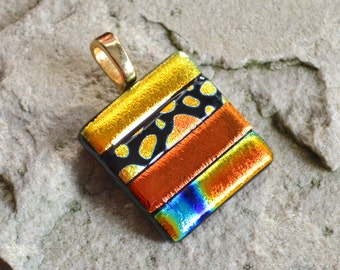 Dichroic Glass Pendant Metallic Stripes Square Shaped in Golds Burnt Orange on your Choice of Silver or Gold Bail Fitting - Gift Boxed