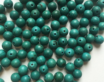 Dark Turquoise Magnesite 8mm Smooth Round