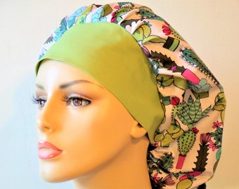 Bouffant Scrub Hats Southwestern Botonical Cactus Surgical Bouffant Scrub Hat with a Sage Green Headband Scrub Caps Made in USA
