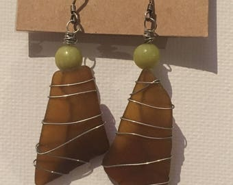 Brown wire-wrapped Sea Glass with Jade earrings