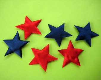 Navy Blue, Red Star Padded Ornaments for Scrapbooking, Embellishment, 4th July Decor, Crafting, 1.5 inches / 38 mm, 15 pieces