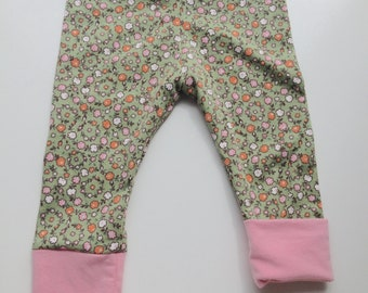 6-12 months - Cotton Floral Baby Pants - Recycled Repurposed - Medium