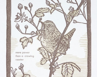 Wren Bird Art Print - Original artwork - Bird Art - Linocut Letterpress