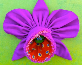 Fabric Flower Pin Brooch Orchid Pattern PDF Pattern Tutorial Kanzashi Flowers Headbands Cattleya Bouquet Embellishments Wedding La Todera