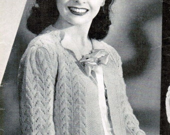 Women's Lacy Bed Jacket Knitting Pattern PDF / Size Medium / Mad men nursing jacket knitting pattern / Vintage bed jacket pattern