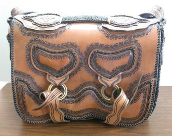 Hand Tooled Leather Bag Travel Bag Overnight Bag Weekender Tote Vintage Leather Travel Bag Weekend Bag Duffel Bag Messenger Bag Boho Mexican