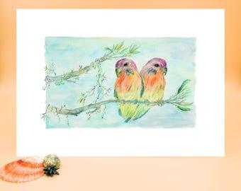 Lovebirds, Garden, Watercolour, Painting, Art Print, Fine Art Print, Art, Print, Love, Nursery, Giclee, Watercolor, Birds, Parrots, Bird Art