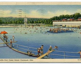 Sunlite Swimming Pool Coney Island Cincinnati Ohio 1941 postcard