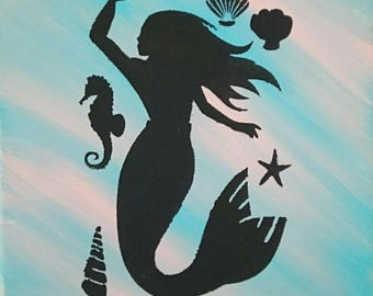 Mermaid painting Mermaid Art Mermaid Decor Seashell painting SeaHorse painting Blue painting