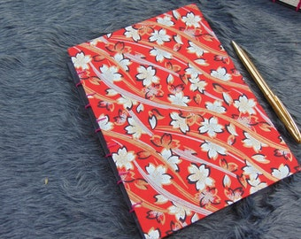 Coptic Stitch Journal | Red Flower Washi Paper Design | A5 Size 22 cm x 16 cm | 160 Ruled Pages