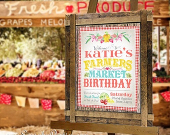 Farmers Market Party Sign - INSTANT DOWNLOAD - Partially Editable & Printable Birthday Baby Bridal Shower Party Poster by Sassaby Parties