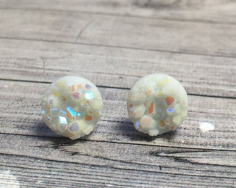 Tiny White Druzy Earrings, 8mm Round Faux Druzy Earrings, Metallic Glitter Faux Drusy Posts, Glittering White Rainbow Stainless Steel Studs
