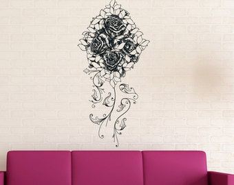 Vinyl Wall Decal Sticker Bouquet of Roses 1233s