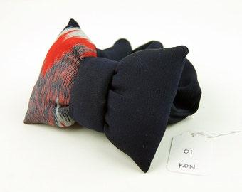 Scrunchie with a big puffy bow 01 Dark Blue